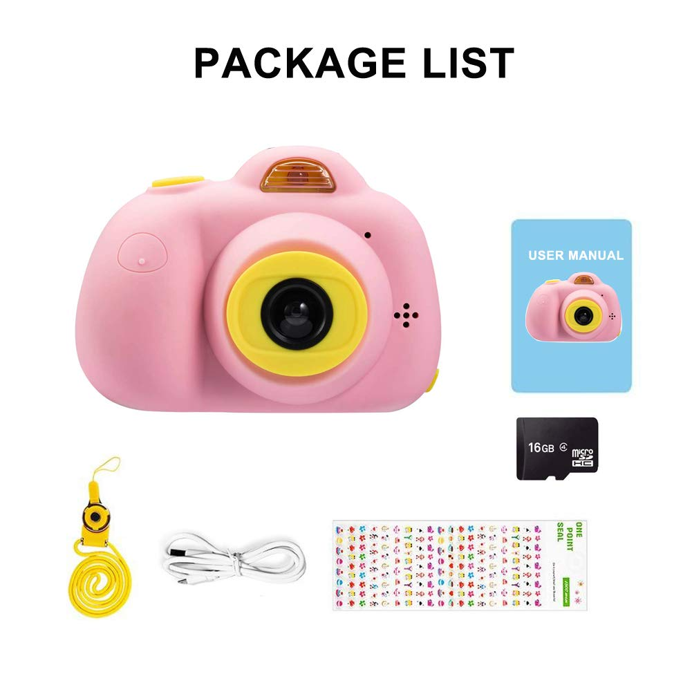 Kids Camera, Dual Cameras 8MP Rechargeable 1080p HD Kids Video Cameras Shockproof Kids Digital Cameras - Best Gift for 4-10 Years Old Girls Boys Party Outdoor Play 16GB TF Card Included (Pink) by Egoelife (Image #8)