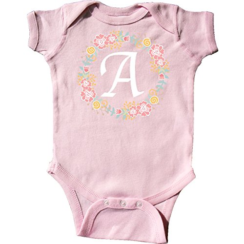 - inktastic - Letter A Rose Floral Wreath Infant Creeper 24 Months Pink 309ae