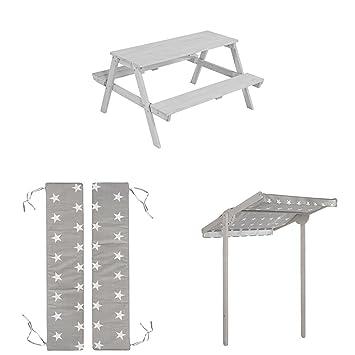 Sitzgarnitur mit 2 B/änken und 1 Tisch aus Holz f/ür drinnen und drau/ßen wetterfest roba Kinder Outdoor Sitzgruppe Picknick for 4 grau lasiert