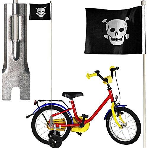 Flagge Pirat für Fahrrad mit Sicherheit im Straßenverkehr durch Wimpel und Stiel, Höhe: 126 cm
