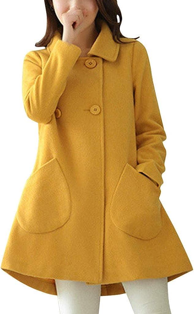 Xmiral Cappotti Outwear Donna Casual Media e Lunga Giacca Invernale in Lana Artificiale di Lana Spessa di Spessore