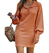 BTFBM Women Long Sleeve Sweater Dresses V Neck Foldover Collar Casual Solid Relaxed Fit Soft Knit...