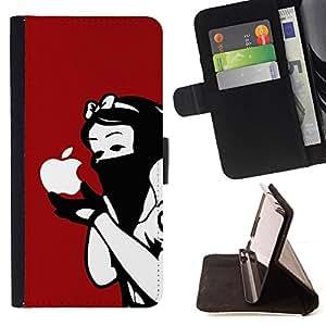 - Funny Poison Apple - - Prima caja de la PU billetera de cuero con ranuras para tarjetas, efectivo desmontable correa para l Funny HouseFOR Samsung Galaxy S5 V SM-G900