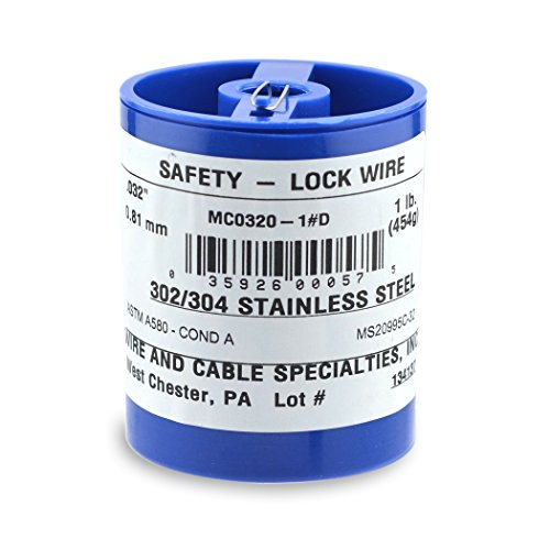 Wire and Cable Specialties MC0320-1#D Safety Lockwire MS20995C32 .032 in (0.81 mm), 1 lb (0.45 kg) Disp, appx 362 ft (50 m)