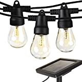 Brightech Ambience Pro Solar Powered LED String Lights - 1 Watt S14 Vintage Edison Style Bulbs- Commercial Grade Outdoor Hanging Strand- 27 ft Bistro Weatherproof Strands for Porch Patio–2000mah Panel