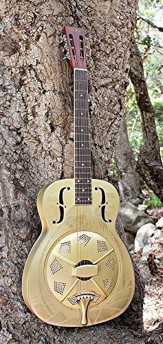 Imperial Palmulator Brass Body Resonator Guitar with Tropical Palm Tree Etching by Imperial Guitars