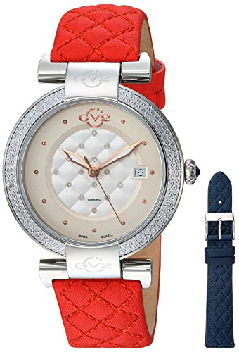 GV2-by-Gevril-Womens-Berletta-Swiss-Quartz-Stainless-Steel-and-Leather-Casual-Watch-ColorRed-Model-1506