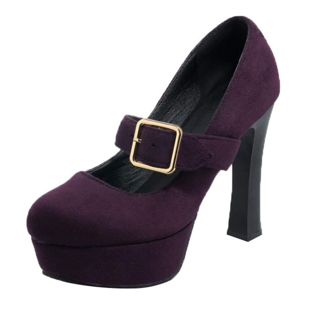 Pump Heels for Women,Ankle Strap Platform High Heel Dress Wedding Sandals Boots (US:6.5, Purple)