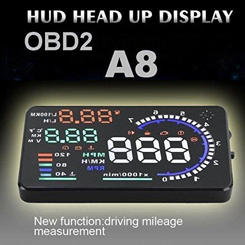 Bearfire 2016 Newst A8 5.5'' Dash Screen Car HUD Head Up Display OBDII OBD II EOBD Auto Gauge (Color: Black)
