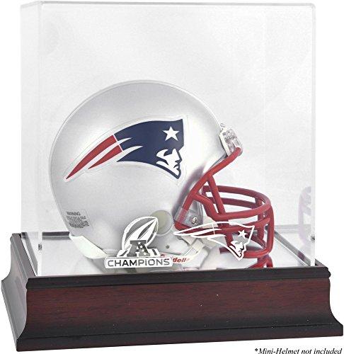 Sports Memorabilia New England Patriots 2017 AFC Champions Mahogany Mini Helmet Logo Display Case - Football Mini Helmet Free Standing Display (Afc Helmets)