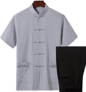 AGWa Traje chino de algodón y lino Tang Camisa de manga corta para hombre Traje de camisa Traje de Tai Chi con bolsillo de bordado Adecuado para primavera y verano,pantalones grises,L: Amazon.es: