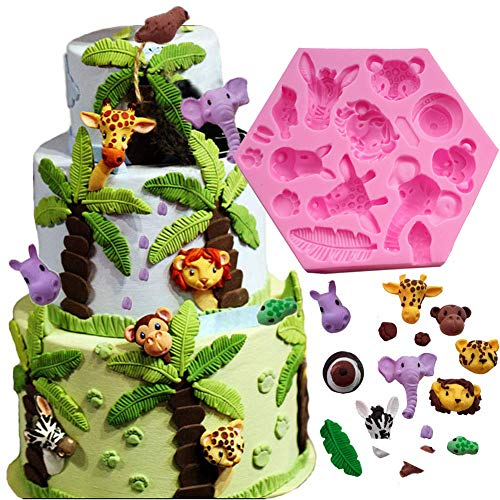 - Fewo Forest Woodland Animals Fondant Cake Decorating Molds Wild Zoo Silicone Mold for Chocolate Candy Gum Paste Clay Sugar Craft Cupcake Topper Supplies (Elephant Lion Giraffe Monkey Zebra Hippo)
