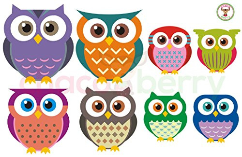 Owl Family Wall Decals, Fabric Kids Baby Nursery Room Wall Stickers - Sticks to Any Surface, Peels Off Clean, Reusable, Easy to Install - Baby Fabric Stickers