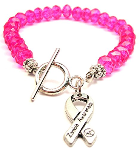Zombie Awareness Ribbon Crystal Toggle Bracelet in Hot Pink ()