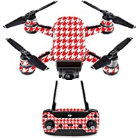 Skin for DJI Spark Mini Drone Combo - Red Houndstooth| MightySkins Protective, Durable, and Unique Vinyl Decal wrap cover | Easy To Apply, Remove, and Change Styles | Made in the USA
