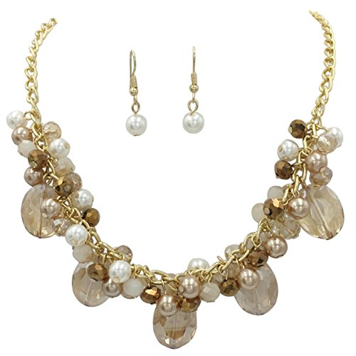 (Simulated Pearl & Glass Bead Cluster Necklace and Dangle Earring Set (Brown & White Gold Tone) )