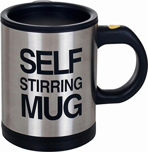 Self Stirring Coffee Mug (Black/Silver) - 4