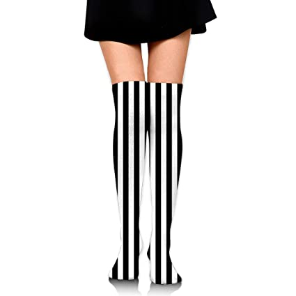 8bedc0bacea Amazon.com  Black and White Mosaic Vertical Stripes Sexy Stockings ...