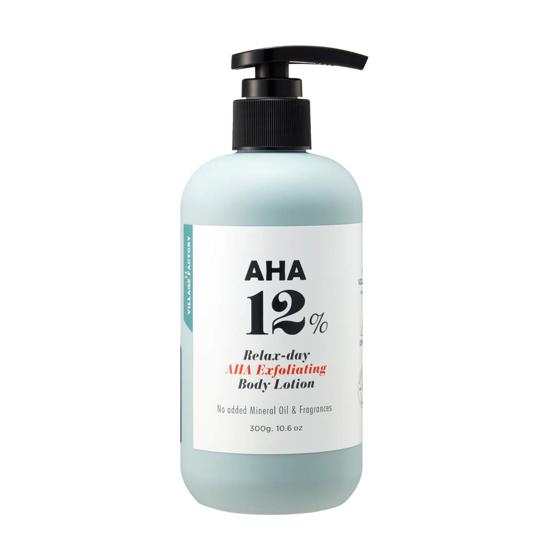 AHA 12% Body Lotion, Exfoliating & Rejuvenating Formula with 12% Glycolic Acid and Hyaluronic Acid. Unscented, Mineral Oil Free and Paraben Free. Helps Maintain pH, Fast Absorption and Non-Sticky 10.6 Oz