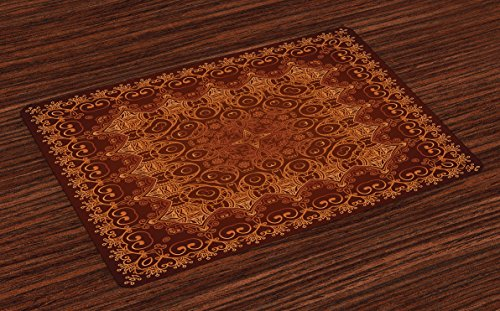 Ambesonne Antique Place Mats Set of 4, Vintage Lacy Persian Arabic Pattern from Ottoman Empire Palace Carpet Style Art, Washable Fabric Placemats for Dining Room Kitchen Table Decor, Orange Brown