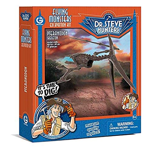 Pteranodon Skeleton - Geoworld 625272-Dr. Steve Hunters: Dinosaur Excavation Kit Pteranodon Skeleton-Age 6+, Size: 48cm