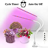 OxyLED Grow Light for Indoor Plants, Timing Function Dual Head Plant Light, 36 LED 5 Dimmable Levels Grow Lamp with Flexible Gooseneck for Hydroponics Greenhouse Gardening