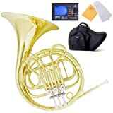 Mendini Key of F Single French Horn, Lacquered Yellow Brass - MFH-20+92D