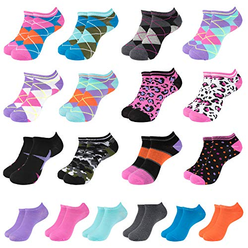 (LADIES ASSORTED PATTERN MIX 18PK NO-SHOW SOCKS)
