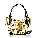 Marino Orlandi Italian Designer Handpainted Yellow Roses Leather Purse Crossbody Bag