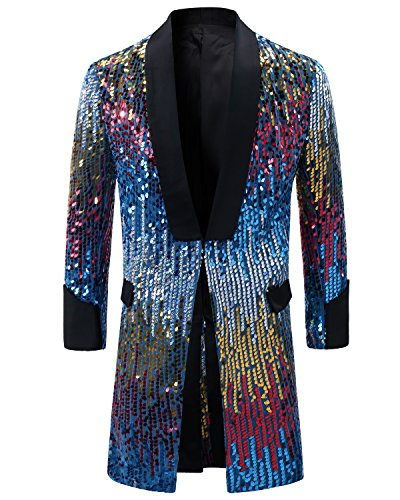Cloudstyle Men's Tuxedo Single-Breasted Party Show Suit Sequins Punk Jacket Blazer,Blue,Large