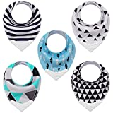 Teething Bibs Baby Bibs Bandana Drool Bib with BPA-Free Silicone Teether for Boys