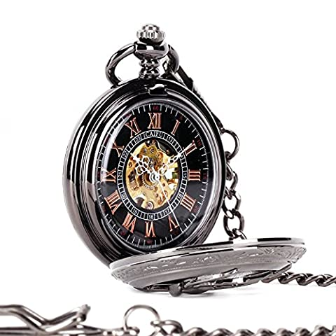 Carrie Hughes Eagle Hunter Steampunk Pendant Quartz Pocket Watch With Chain Xmas Gift for Men Woman (Black mechanical (Mechanical Pocket Watch Engraved)