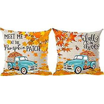 ramirar Set of 2 Fall in Love Blue Pickup Truck Orange Pumpkins Maple Leaves Birds Autumn Decorative Throw Pillow Cover Case Cushion Home Living Room Bed Sofa Car Cotton Linen Square 18 x 18 Inches