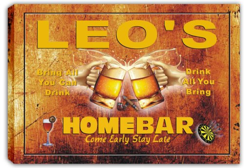 scp3-0168-leos-home-bar-pub-beer-bar-stretched-canvas-print-sign