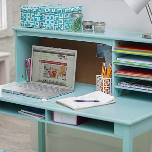 Guidecraft Children's Media Desk and Chair Set by Guidecraft - Teal: Student Study Computer Workstation, Wooden Kids Bedroom Furniture