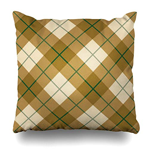 Alfredon Throw Pillow Covers 12 Checkerboard Plaid Pattern Quot in Golden Wool Browns Green Stripe Gold Tartan Checkered Checks Pillowcase Square Size 20 x 20 Inches Home Decor Cushion Cases ()