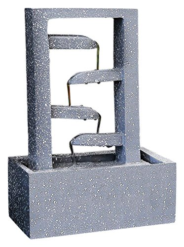 SereneLife 4-Tier Water Fountain Decoration - Cool Indoor Outdoor Portable Electric Tabletop Decorative Zen Meditation Waterfall Decor Kit Includes Submersible Pump and Power Adapter - SLTWF40