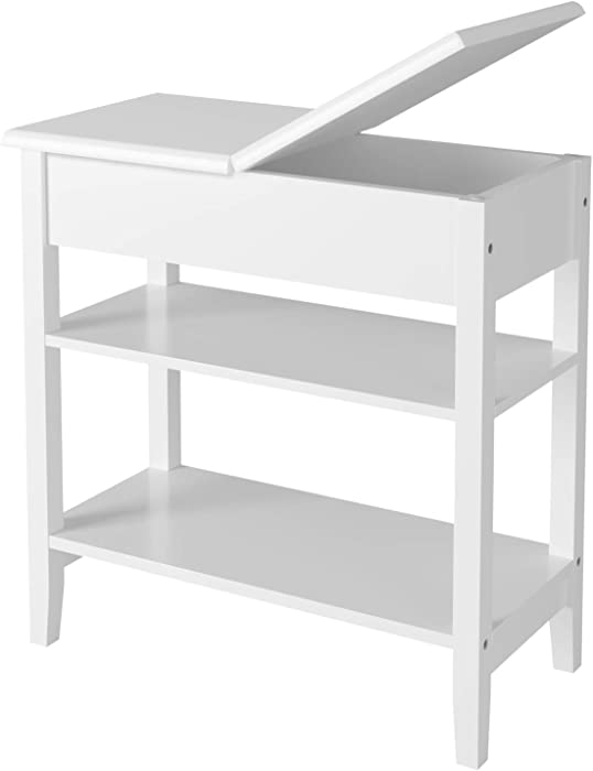 HOMECHO Modern End Side Table with Flip Top Storage Shelf Wooden Sofa Chair Bedside Couch ConsoleAccent Tables Night Stand for Living Room Bedroom, White, HMC-MD-020