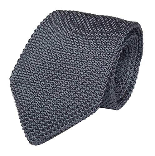 Secdtie Men's Dark Grey Solid Color Knitted Neck Tie Accessory Formal Necktie 011