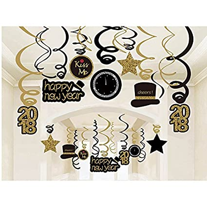 Amazon.com: 2018 New Year Hanging Swirls Garland with Celebration ...