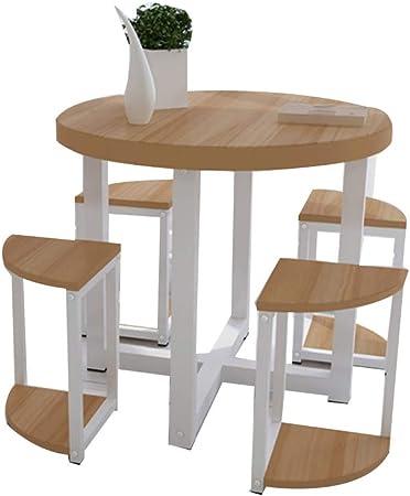 XIA Conjunto de Mesa de Comedor y 4 taburetes Conjunto de Mesa Redonda de Ocio y Taburete Restaurante Sala de Estar Corredor Exterior 4 Colores (Color : C, Tamaño : D70cm): Amazon.es: Hogar