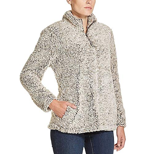 Weatherproof Vintage Womens Jacket Pullover Frosty Tipped Sherpa Soft,Brown,Small