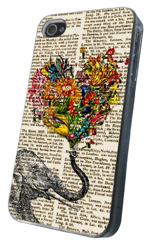iphone 4 4S Aztec Ornate Elephant Flower Roses Trunk Fashion Trend Design Hülle Case Back Cover Metall und Kunststoff-Löschen Frame