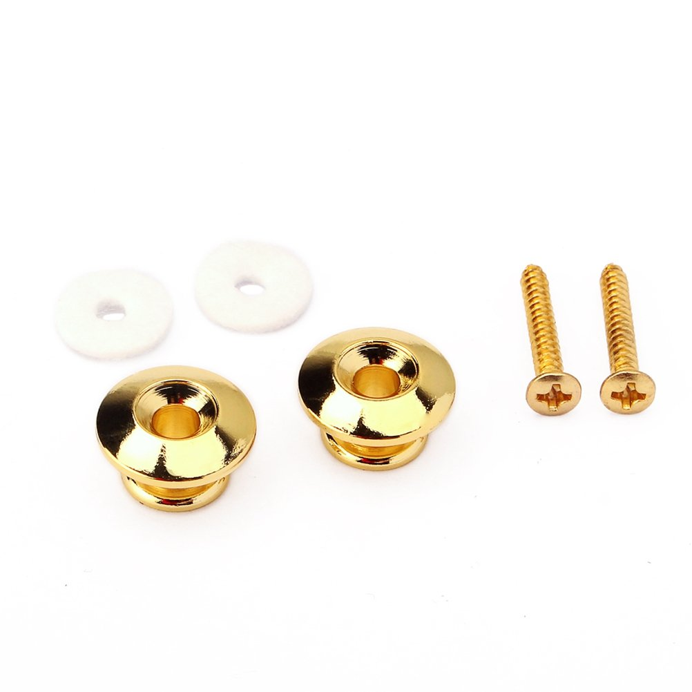 Healifty Guitar Strap Locks Metal Strap Buttons with Mounting Screws For Guitar Bass Mandolin Guitar Replacement Parts Accessories (Black) 2530647-6101-0942106081