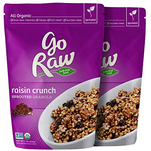 Go Raw Organic Sprouted Superfood Granola, Raisin Crunch (pack of 2 x 16 oz bags)