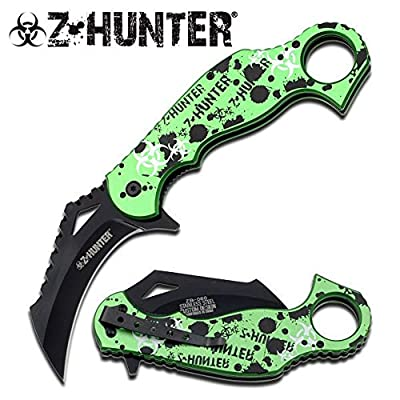 "Z-Hunter ""Splatters"" AO Knife - A must have for Zombie Hunters - Green & Black"