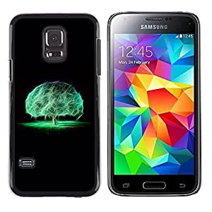 TopCaseStore / la caja del caucho duro de la cubierta de protección de la piel - Brain Tree Mystical Nature Neon Black - Samsung Galaxy S5 Mini, SM-G800, NOT S5 REGULAR!