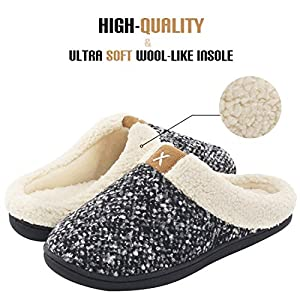 51BKxcMAboL. AA300  - Women's Comfort Memory Foam Slippers Wool-Like Plush Fleece Lined House Shoes w/Indoor, Outdoor Anti-Skid Rubber Sole (Medium/7-8 B(M) US, Black)