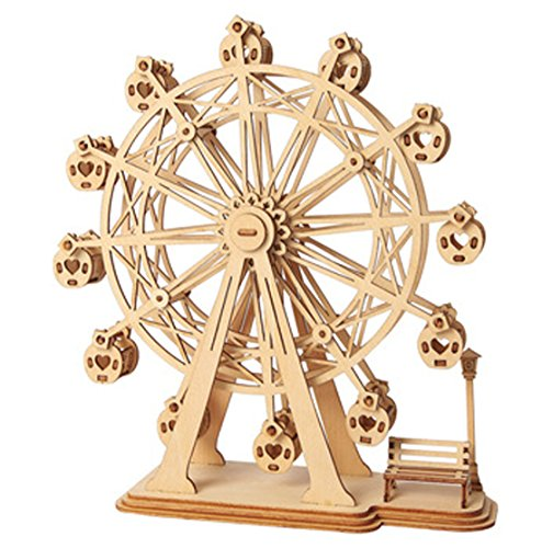 ROBOTIME 3D Wooden Puzzle Toy Wood Craft Building Kits Best Model Kit Great Gifts for Girls and Women(Ferris Wheel)]()