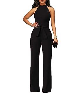 15acba92754e Chic-Lover Women s Solid Color Jumpsuit Wide Leg Long Pants Jumpsuits Romper  with Belt